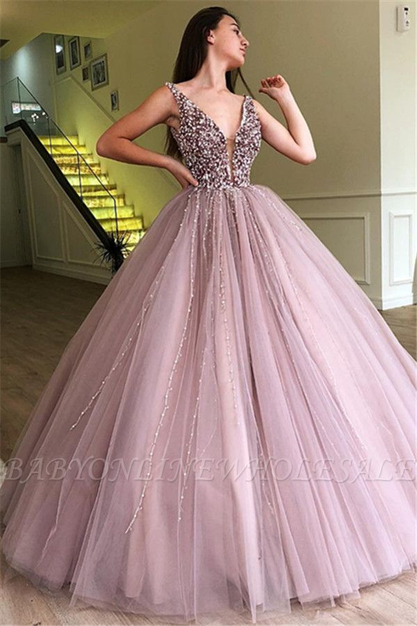 Stunning Ball Gown Tulle Beading Straps Sleeveless Prom Dress BC0794
