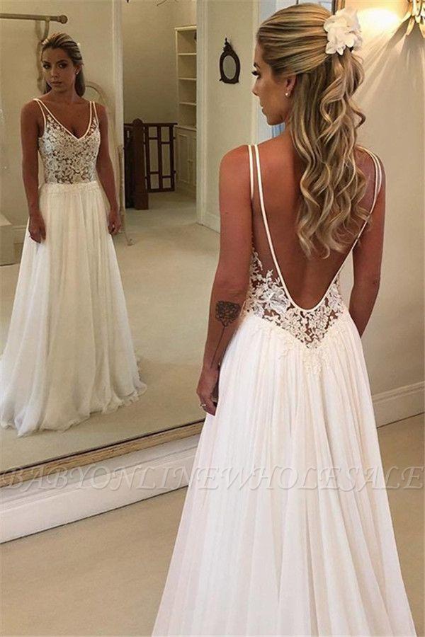 Schlichte Rückenfrei Brautkleider Mit Spitze | Chiffon Hochzeitskleider Online