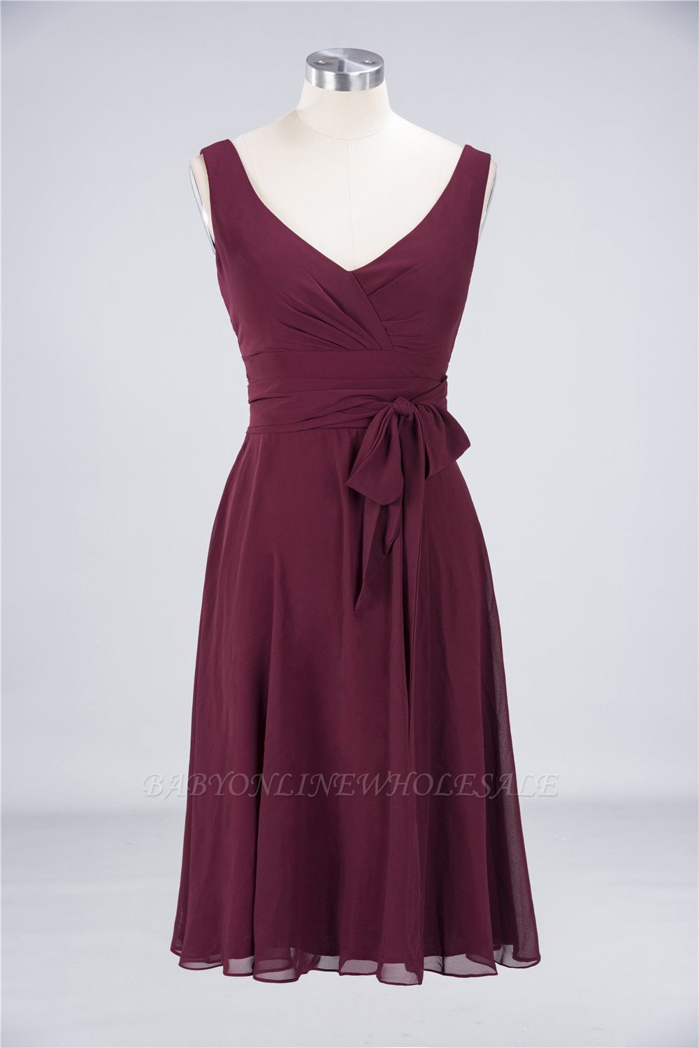 Chiffon A-Line Straps V-Neck Sleeveless Ruffles Short Bridesmaid Dress with Bow Sash