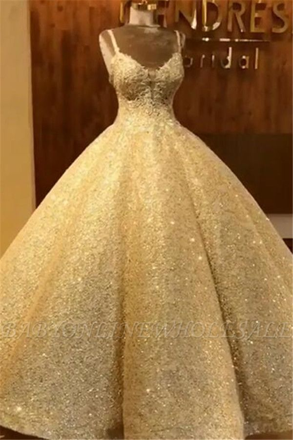 Elegant Straps Sequins Wedding Dresses | Lace Sleeveless Ball Bridal Gowns