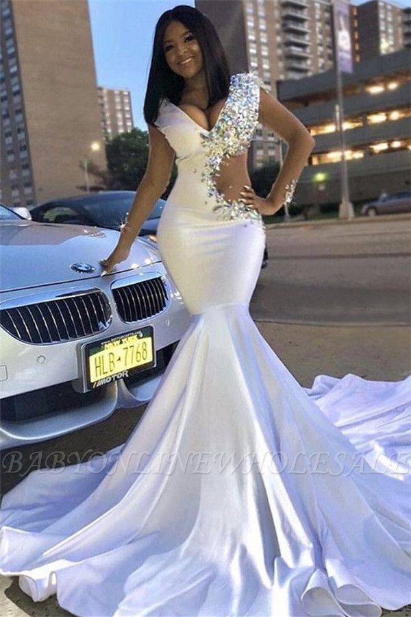 Chic V-Neck Lace Rhinestones Sweep Train Mermaid Prom Dresses