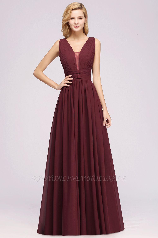 Weinrote Brautjungfernkleider Aus Chiffon | Elegantes Brautjungfer Kleid Bodenlang