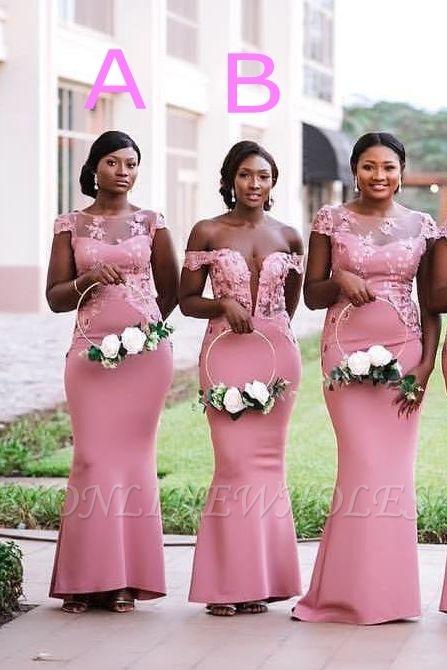 Vestido de dama de honor sirena rosa | Vestido de la recepción de la boda de la manga del casquillo del cordón
