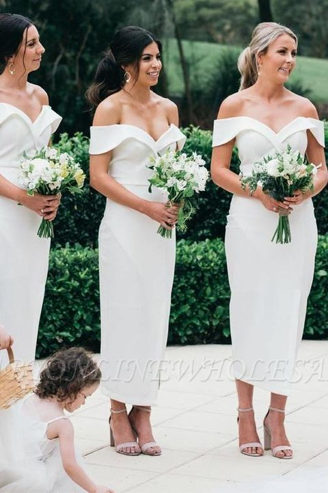 Off The Shoulder Sexy Bridesmaid Dresses | Front Split White Maid of Honor Dress