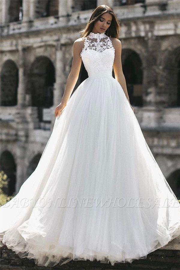 Elegant High Neck Sleeveless Appliques A-Line Floor-Length Wedding Dresses