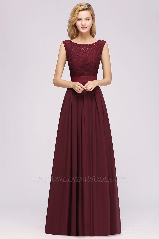 A-line Chiffon Lace Jewel Sleeveless Ruffles Floor-length Bridesmaid Dress