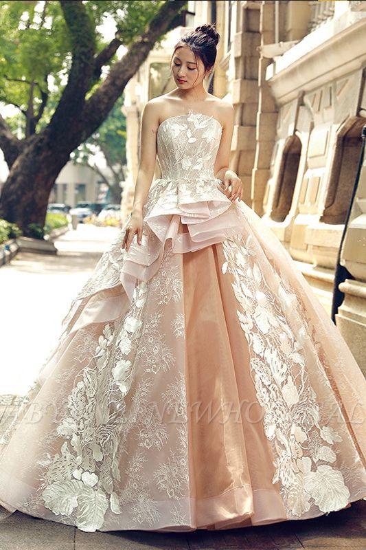 Applique Organza Strapless Ball Gown Sweep Train Prom Dresses