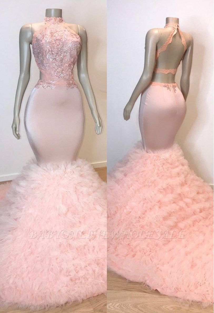 Pink Halter Sleeveless Mermaid Prom Dresses | 2021 Chic Open Back Lace Tulle Evening Gowns