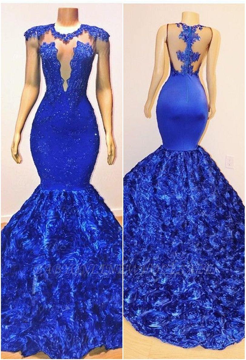 2021 Königsblau Blumen Meerjungfrau Lange Abendkleider | Glamourös ärmellos mit Spitze Appliques Prom Dresses