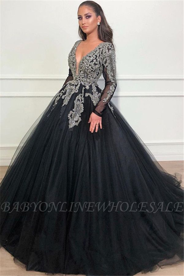 Robe de bal noire v-cou profonde manches longues appliques robes de soirée overskirt