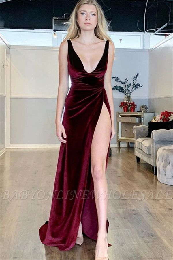 Sexy Burgundy A-Line V-Neck Sleeveless Side Slit Velvet Prom Dresses