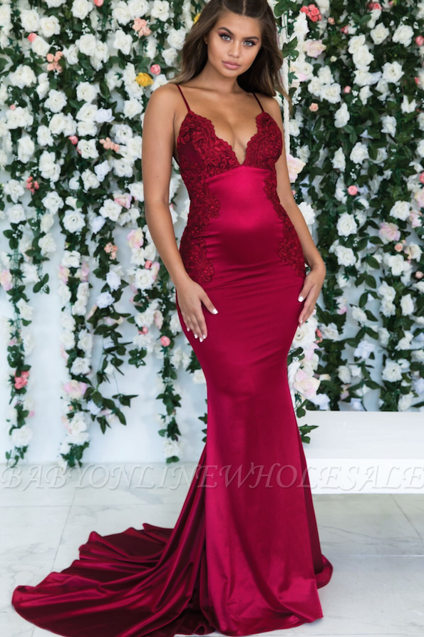 Burgundy Sleeveless Mermaid Backless Prom Dresses | Spaghetti-Straps Lace Appliques Evening Gowns