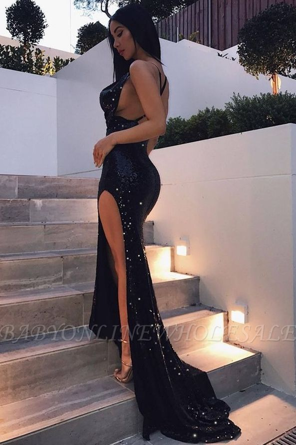 Sexy Black Sequins Backless Party Gown Long Split Prom Dress BA6986 BK0
