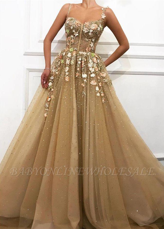 Glamorous A linha de cintas de espaguete vestidos de casamento da flor