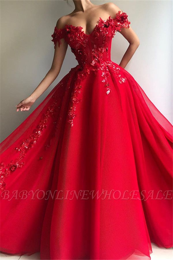 Glamorous Ball Gown Off The Shoulder Applique Flowers Evening Dresses