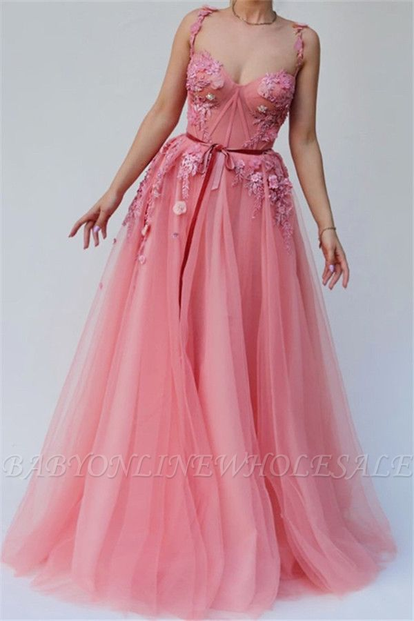 Pink Gorgeous A-line Spaghetti Tulle Flower Applique Prom Dresses