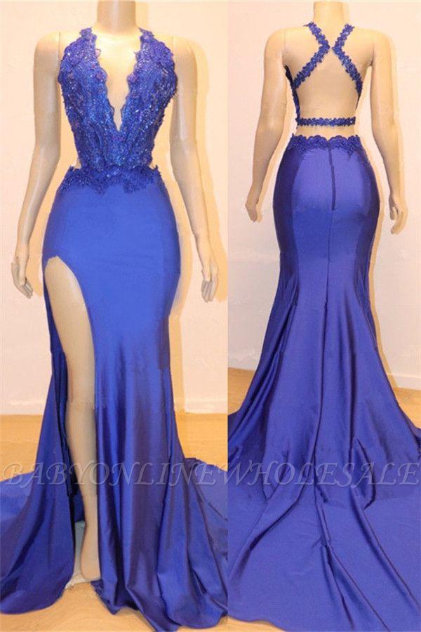 Col en v sexy sexy dos ouvert fente latérale robes de bal pas cher   Robes de soirée en dentelle bleu royal élégant de perles de sirène