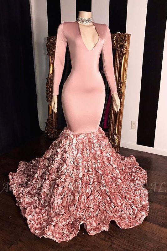 Rosa lange Ärmel Blumen Meerjungfrau Abschlussballkleider | 2021 Elegantes V-Ausschnitt Abendkleid