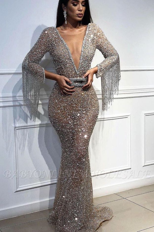 Sexy Mermaid Tulle Sequins Deep V-Neck 3/4 Sleeves Floor-Length Prom Dress with Tassels