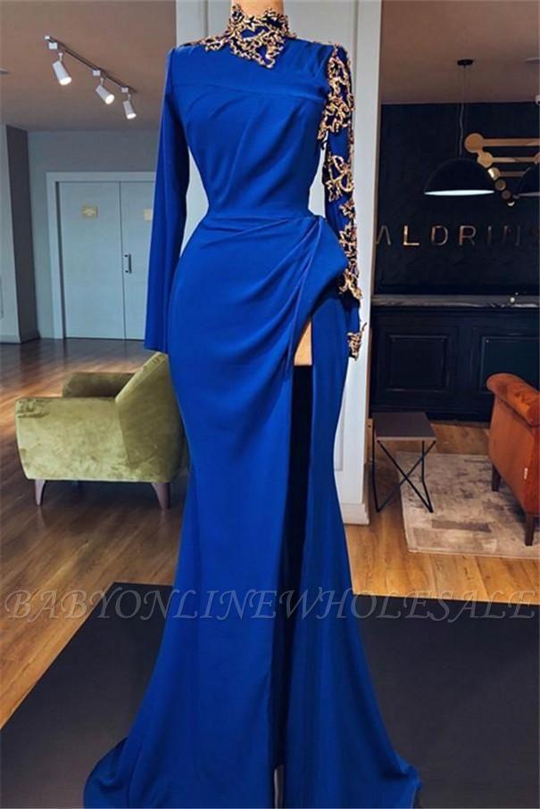 Robes de bal sirène bleu royal à col haut avec fentes latérales | Robes de soirée élégantes à manches longues