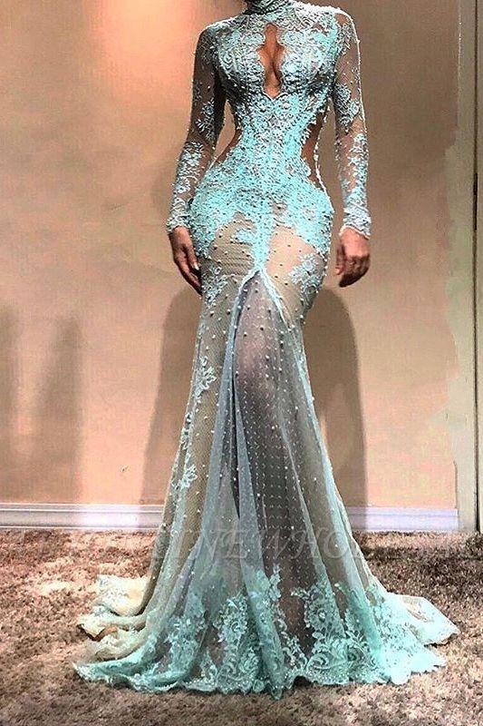 Herrliches Langarm Meerjungfrau Abendkleid | Festliches Kleid aus Spitze