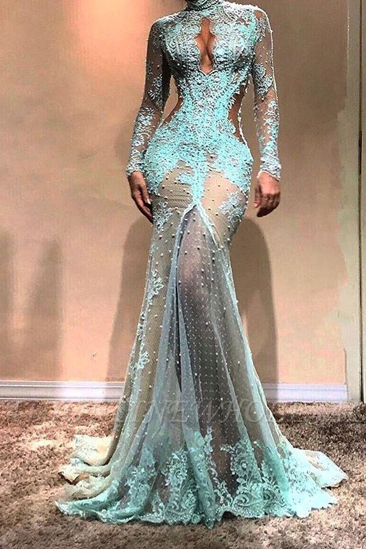 Vestido de noche de sirena de manga larga hermosa | Vestido formal de encaje