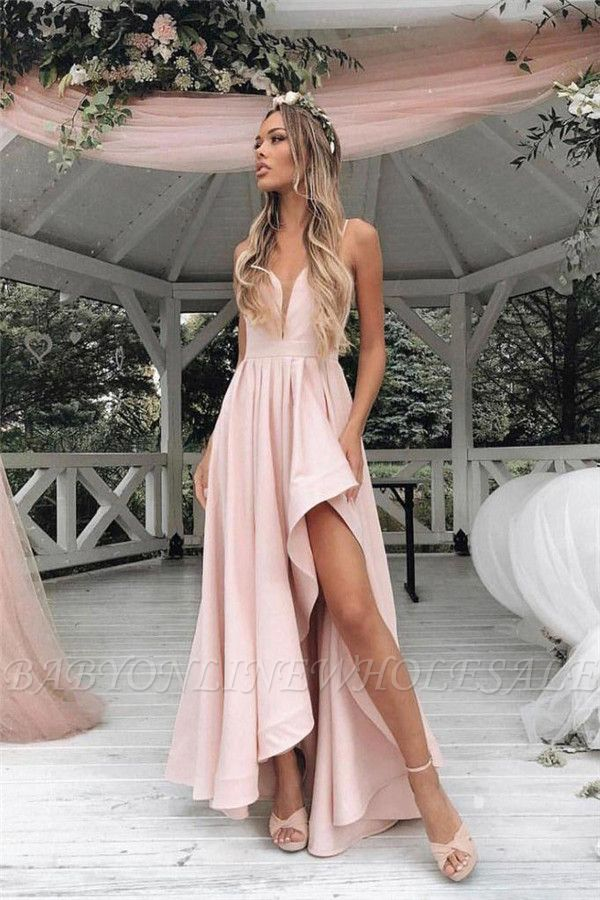 Gorgeous Straps Prom Dresses | Side slit A-Line Sleeveless Sexy Evening Dresses