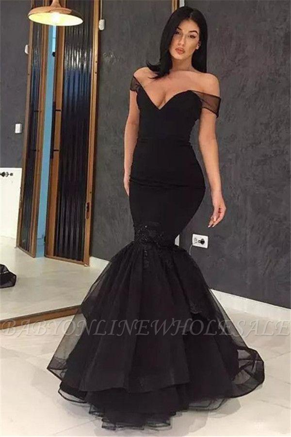 Сексуальные черные платья без бретелек аппликация выпускного вечера | Вечерние платья Русалка с оборками