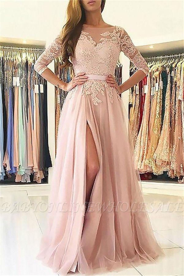 Elegante apliques mangas largas vestidos de baile | Open Back Jewel Side Slit vestidos de noche con cinturón