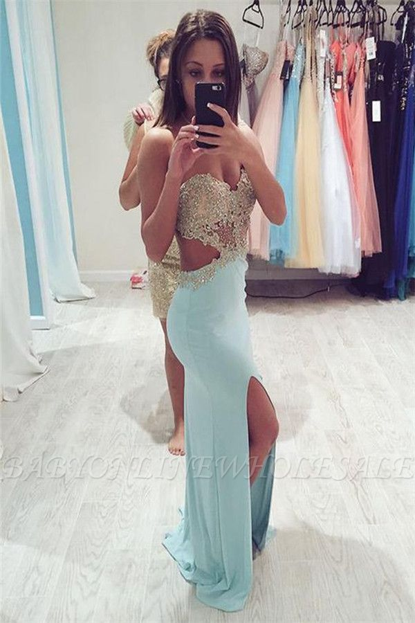 Robes de bal sexy en cristal Weetheart   Fente latérale sirène robes de soirée sans manches