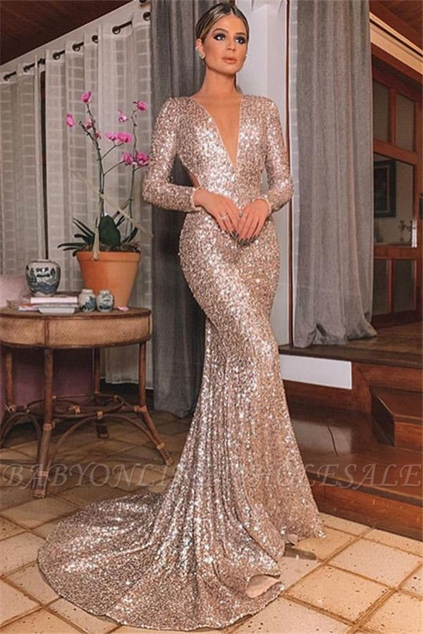 Mermaid Sexy Silver Backless Lone-Sleeves V-Neck Sequins Evening Dresses