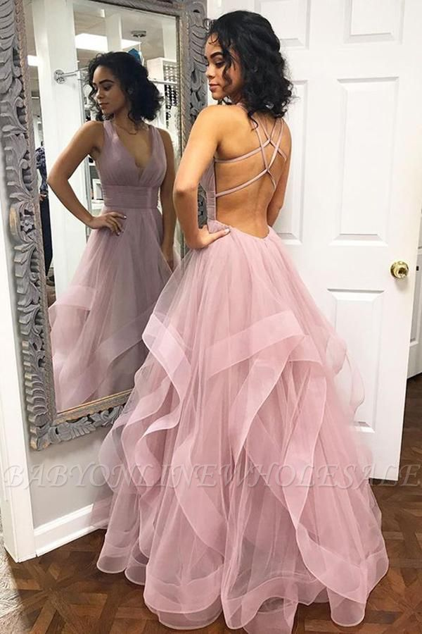 A-Line Sexy Pink Halter Ruffle Sleeveless Prom Dresses