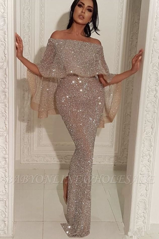 Shiny Off-the-shoulder Long Mermaid Sequins Prom Dresses