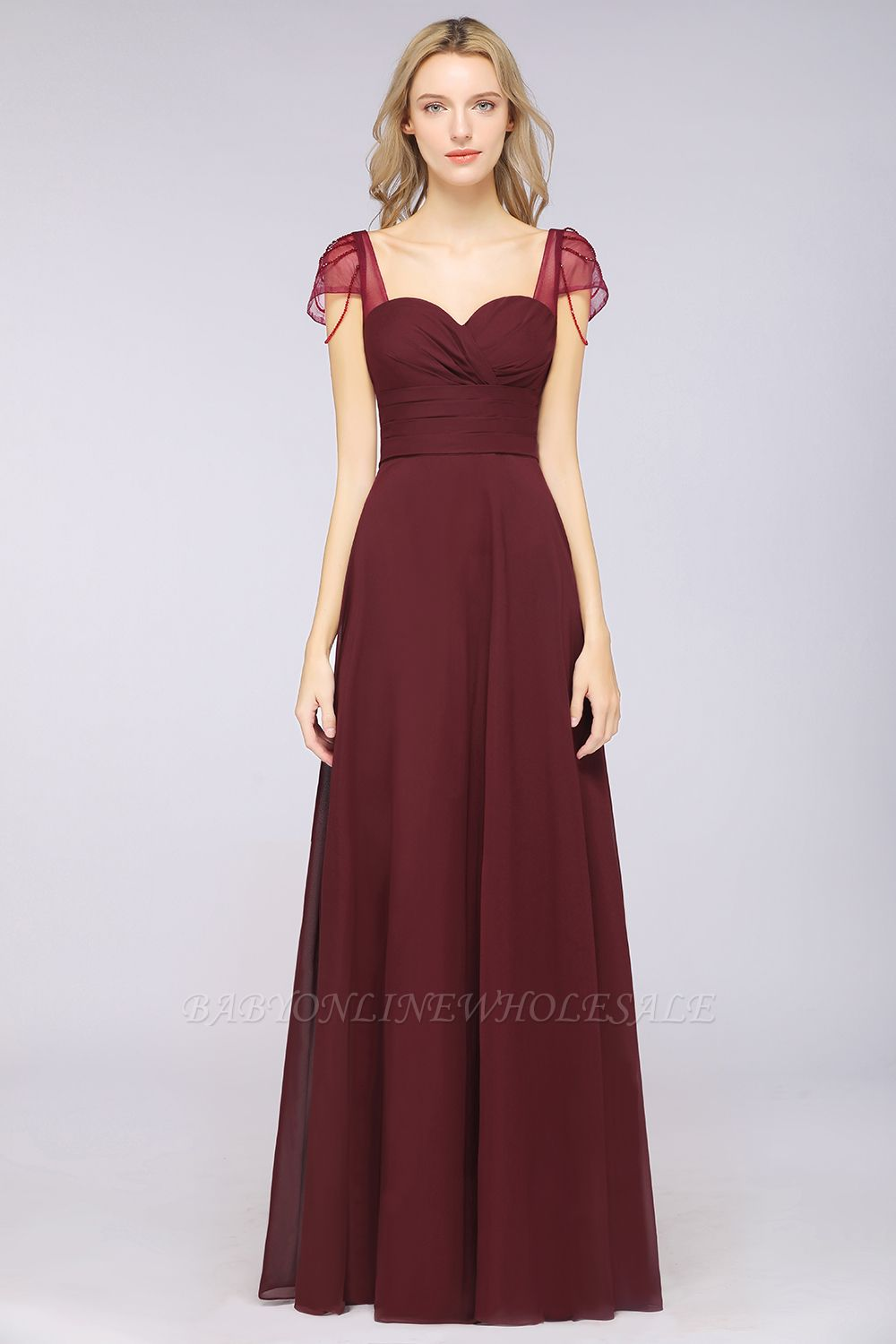 Chiffon A-Line Sweetheart Cap-Sleeves Ruffle Long Bridesmaid Dress with Beadings