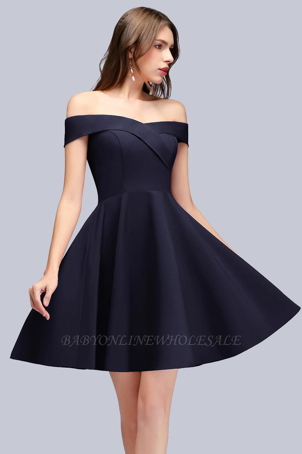 Simple Short Dark Navy Off the Shoulder Bridesmaid Dresses