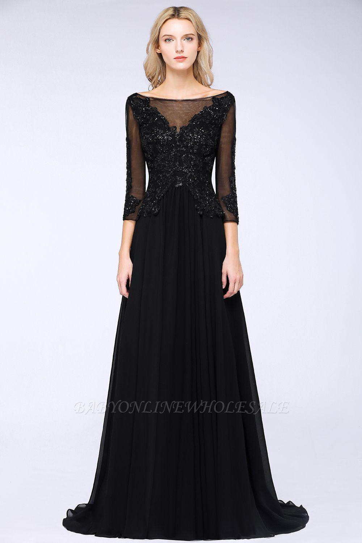 Perles noires manches 3/4 A-Line Appliques robes de demoiselle d'honneur