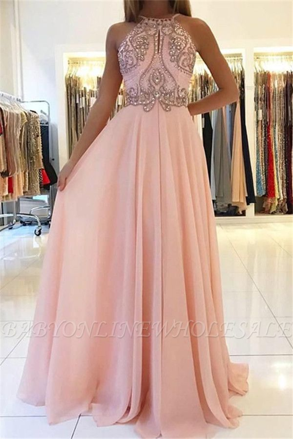Amazing Pink Halter Applique Prom Dresses | Sleeveless Open Back Evening Dresses With Crystal