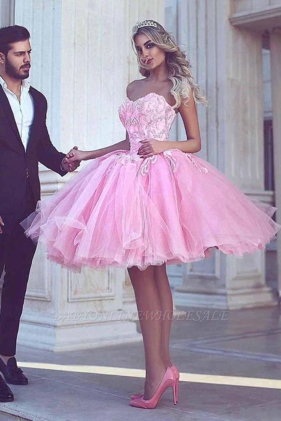 Розовое бальное платье с коротким рукавом и длинными рукавами