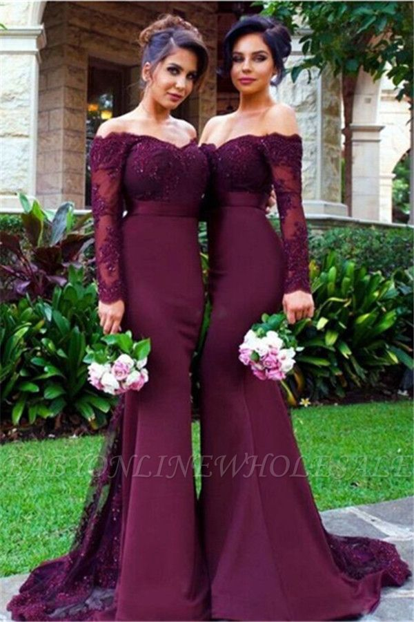 Elegant Off-the-shoulder Mermaid Lace-Appliques Beads Long-Sleeve Bridesmaid Dress
