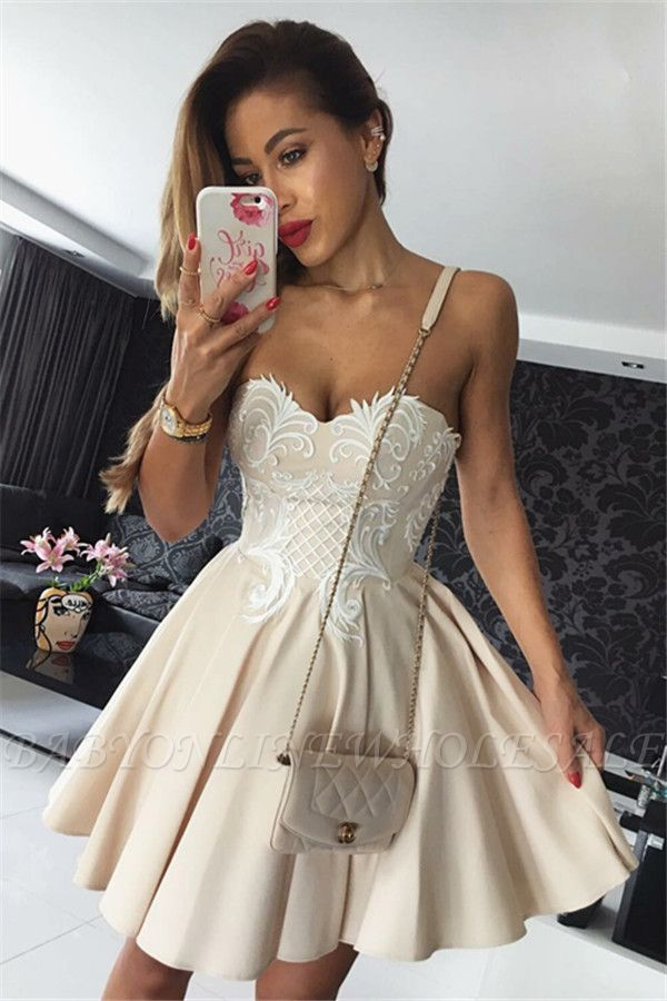 Hot Champagne Homecoming Dresses | Sweetheart Neckline Puffy Hoco Dresses