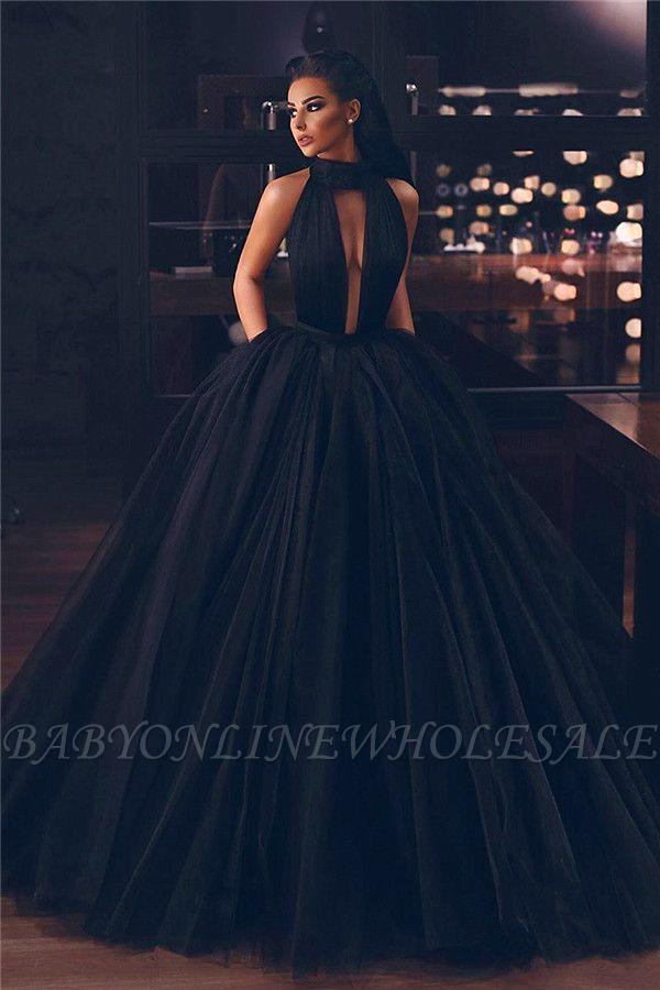 Vestido de noche atractivo del vestido de bola sin mangas de cuello alto
