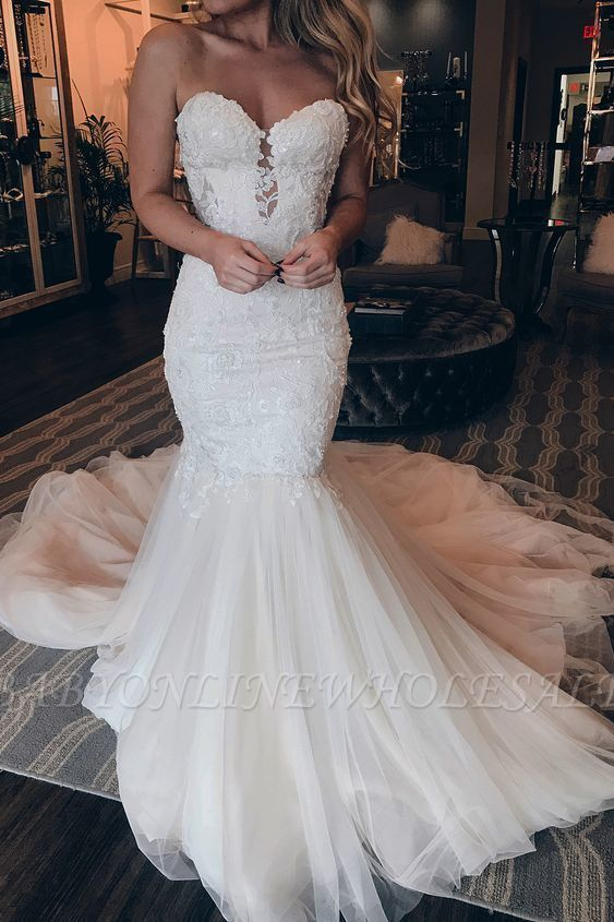 Affordable Strapless Tulle Lace Wedding Dress | Chic Mermaid Sleeveless Long Dress For Wedding