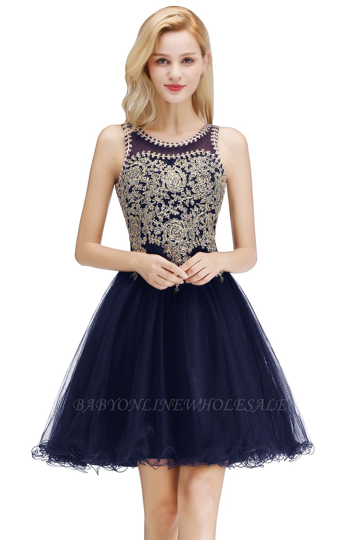 Niedlichen Rundhalsausschnitt Puffy Homecoming Kleider mit Spitzenapplikationen | Perlen ärmellose Open Back Black Teens Kleid für Cocktail