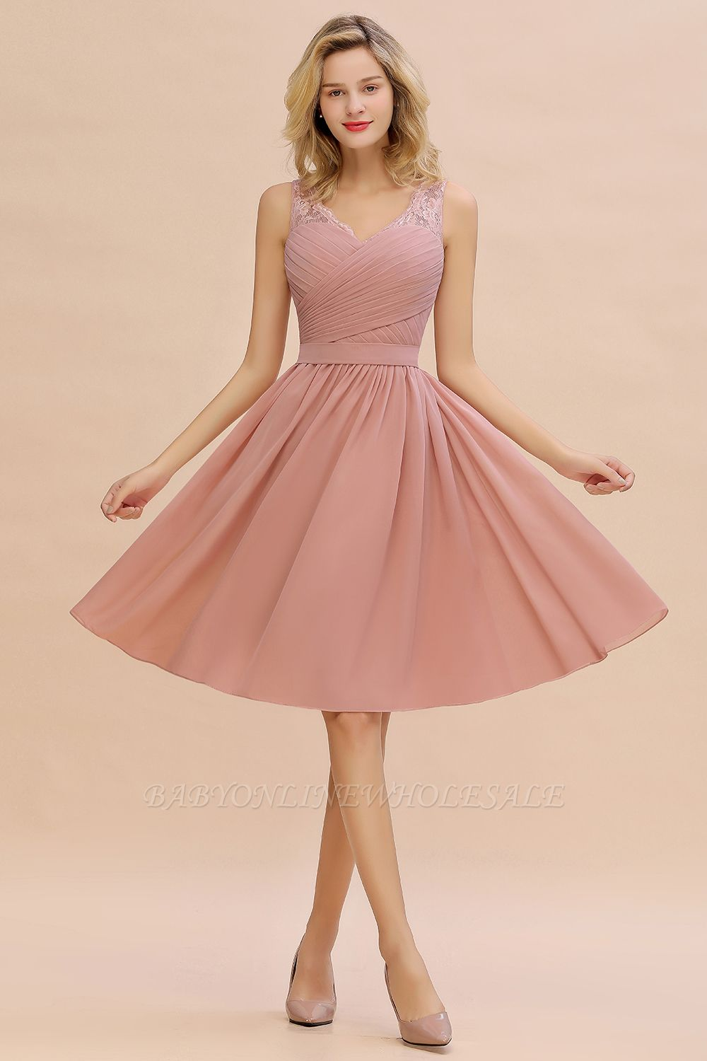 Lace V-neck Long Short Homecoming Dresses with Belt | Sexy Sleeveless V-back Pink Knee length Cocktail Dress