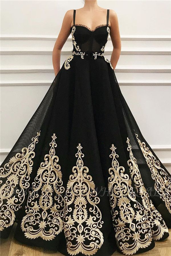 Straps Sweetheart Black Tulle Prom Dress   Charming Sleeveless Champagne Appliques Long Prom Dress