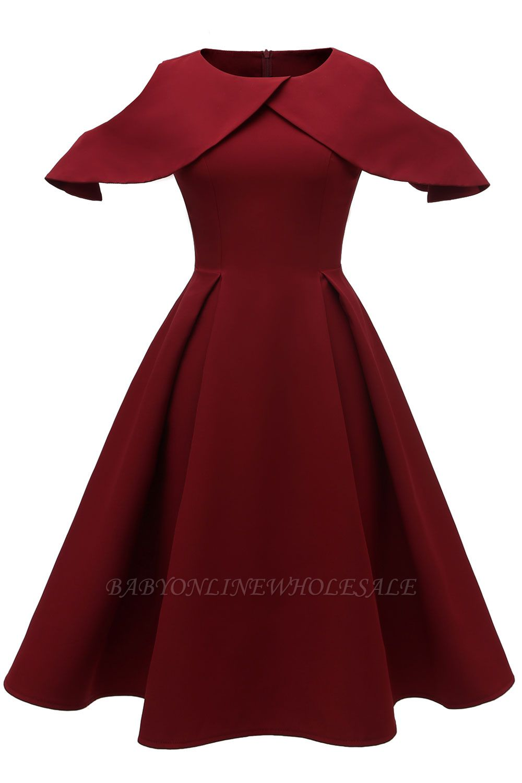 Elegantes U-Ausschnitt Halbarm 50er Jahre Kleid | Vintage Rockabilly Kleid Günstig