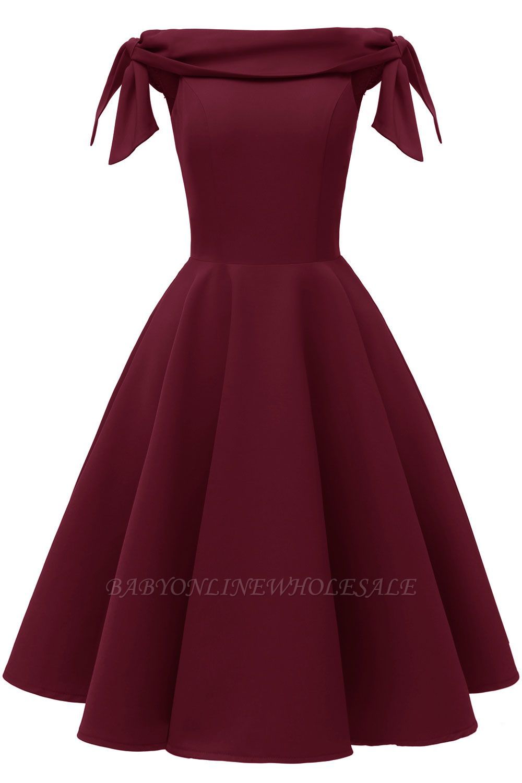 Womens Bateau Burgundy Navy Ruby Vintage Dresses | Retro Princess Short Party Dress