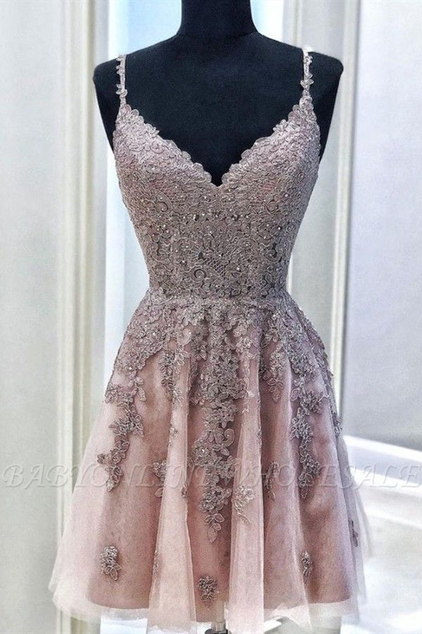 Fantastic V Neck Sleeveless Beading Homecoming Dress | Chic Spaghetti Straps Lace Short Cocktail Dress