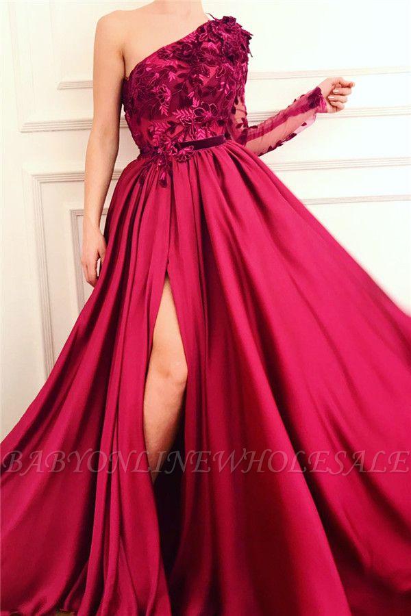 Sexy One Shoulder Front Slit Burgunder Abendkleid | Erschwingliche One Sleeve Appliques langes Abendkleid