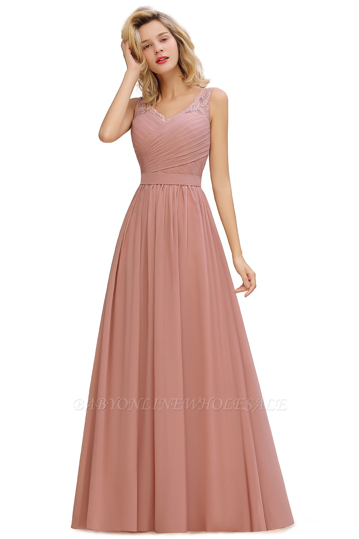 Wunderschöne lange Abendkleider mit V-Ausschnitt und weichen Falten | Sexy ärmelloses V-Rücken Dusty Pink Womens Dress für Prom